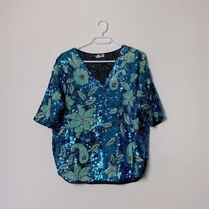 Vintage Sequenced Women's Floral Top